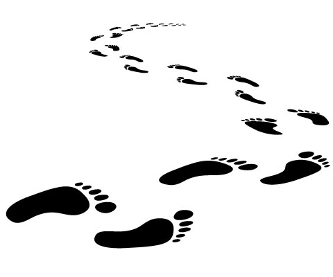 Footsteps clipart. Walking footprints running are