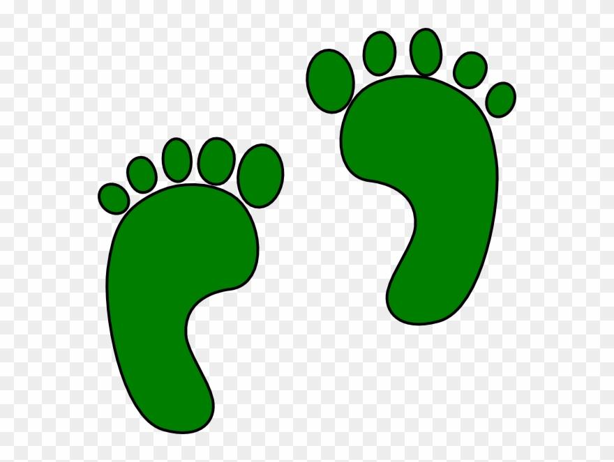Green footprint hand organism. Footsteps clipart 4 step