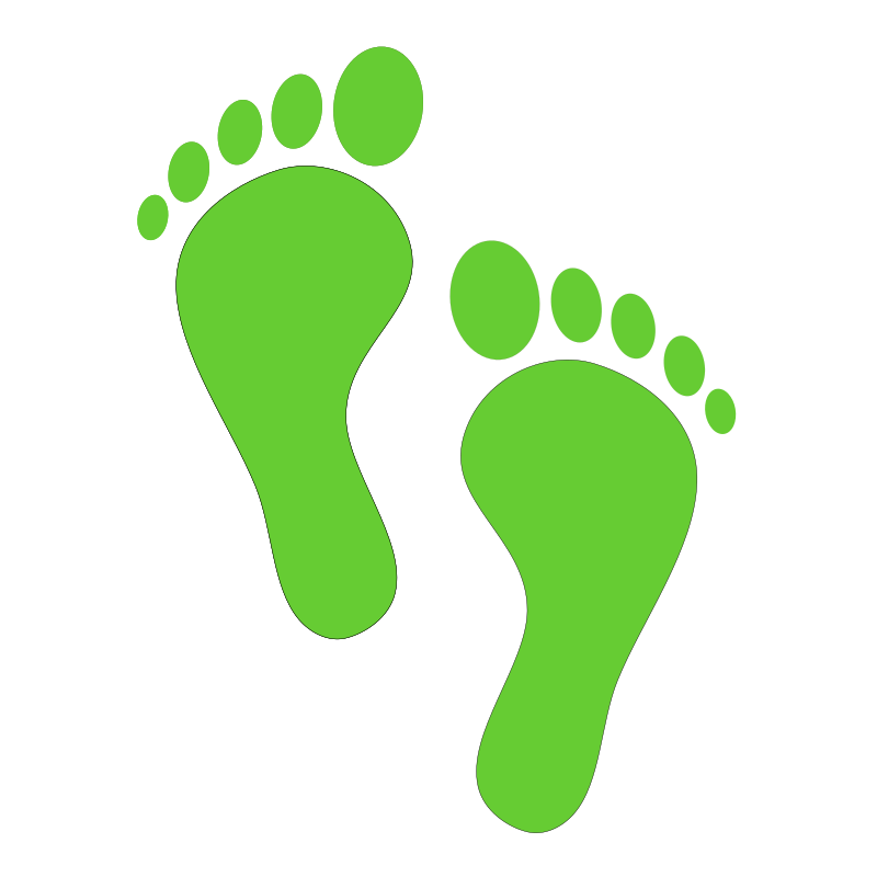 Green steps medium image. Path clipart footsteps
