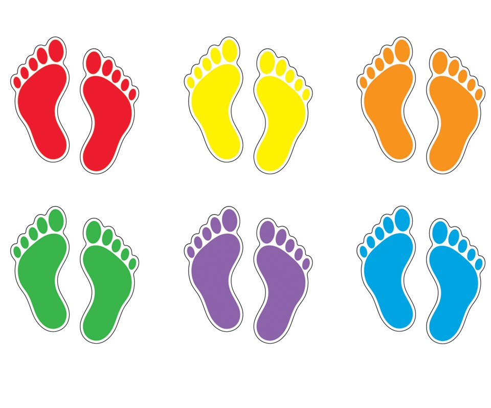 Footsteps clipart colored. Free coloured footprints download