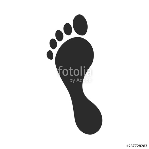 Trace of human foot. Footsteps clipart traces