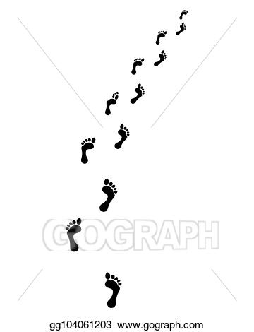 Stock trail of bare. Footsteps clipart vector