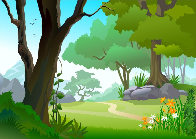 Jungle clipart woodland scene. The forest path vector