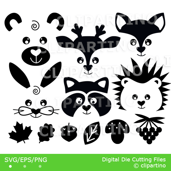 Animals svg forest face. Woodland clipart forrest animal