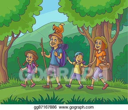 Hike clipart family hike. Vector stock happy is