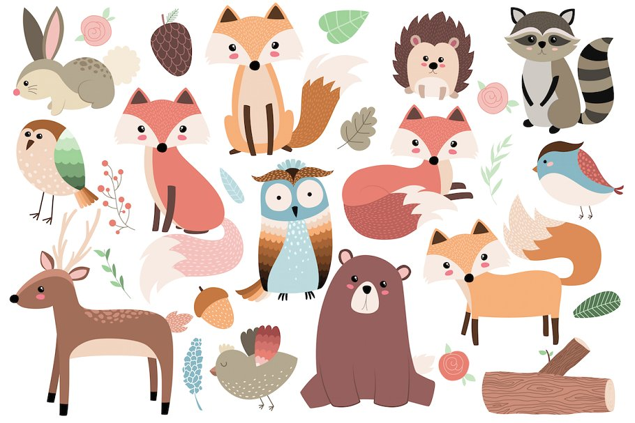Forest animals set illustrations. Woodland clipart forrest animal