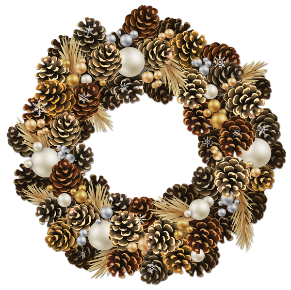 Holidays clipart pinecone. Transparent christmas wreath with