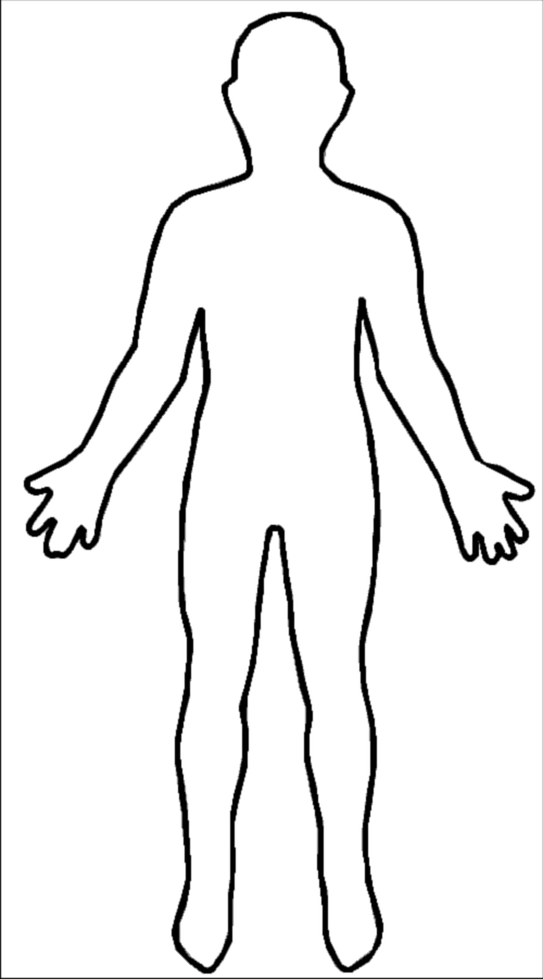 Human body outline template. Humans clipart cutout