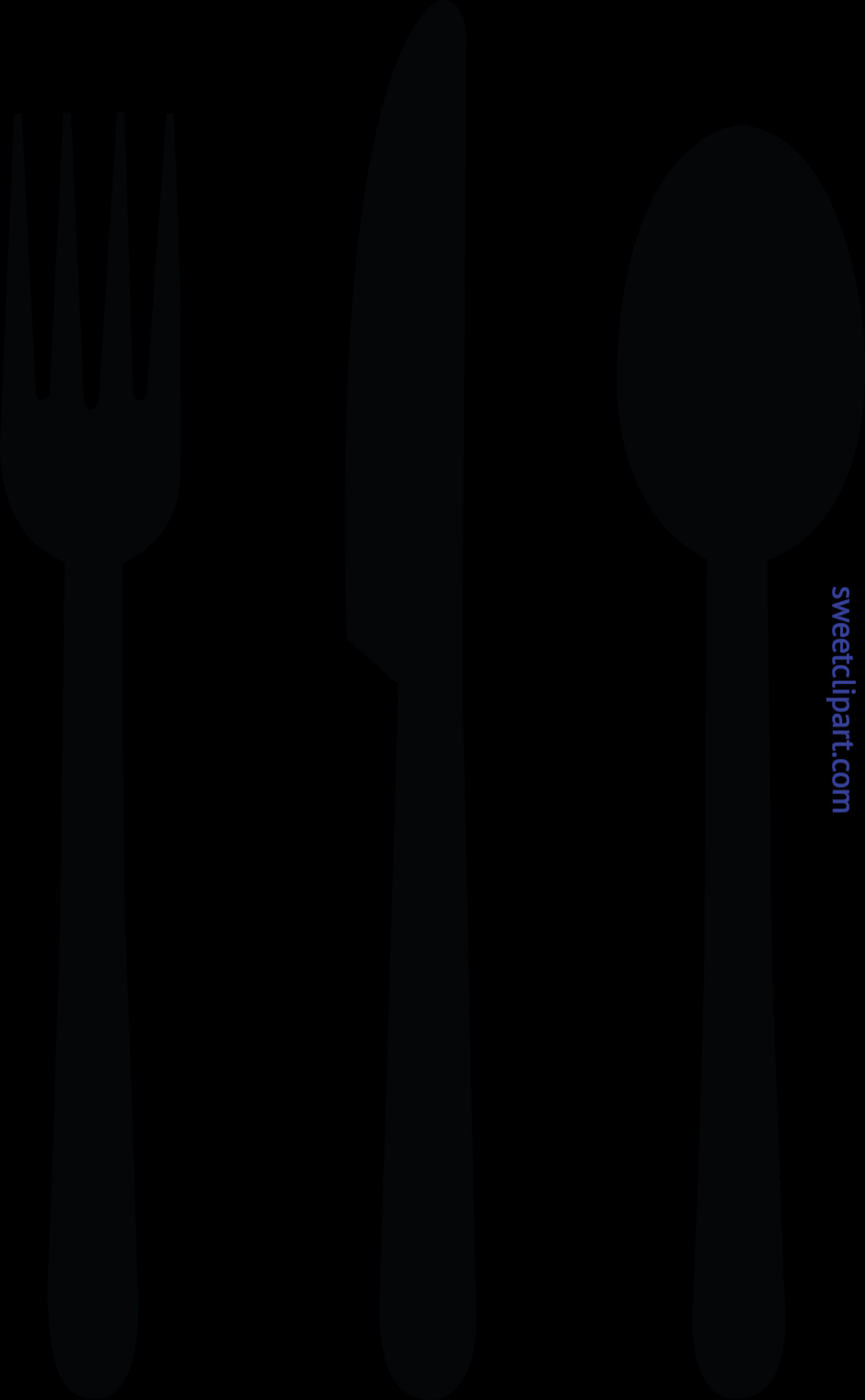 Fork clipart. Knife spoon black clip