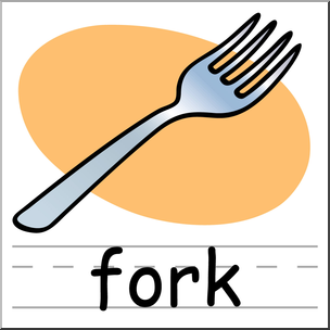 Clip art basic words. Fork clipart colored