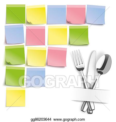 Stock illustration knife spoon. Fork clipart colored
