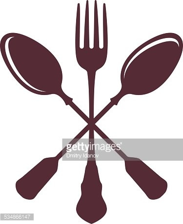 Spoons with isolated on. Fork clipart crossed fork