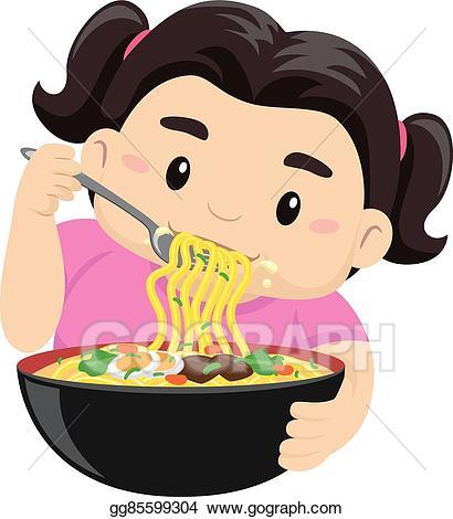 Clip art vector girl. Noodle clipart illustration