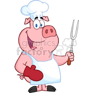 Fork clipart holding. Happy pig chef a