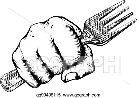 Fork clipart holding. Vector stock woodcut fist