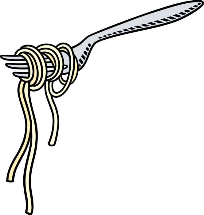 Fork clipart pasta clipart. Spaghetti with vector image