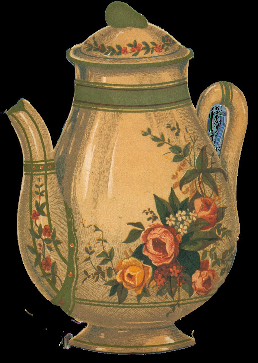Orange clipart teapot. Victorian element by jinifur