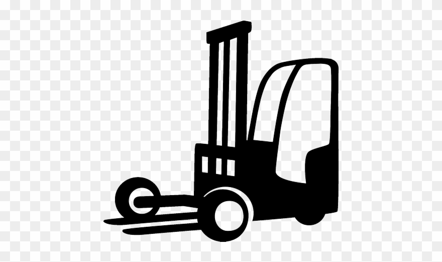 Truck mounted . Forklift clipart black and white