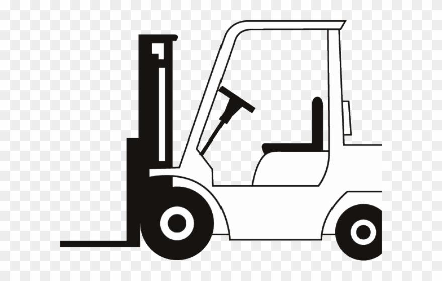 Forklift clipart black and white. Drawn truck fork lift