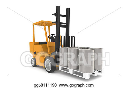 Stock illustration with pallet. Forklift clipart small warehouse