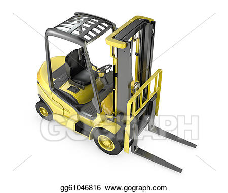 Forklift clipart top view. Stock illustration yellow fork