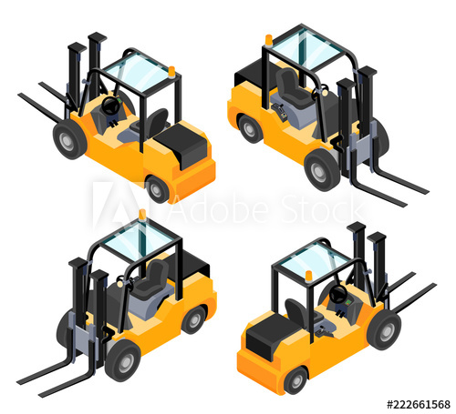 Forklift clipart top view. Yellow isolated on white