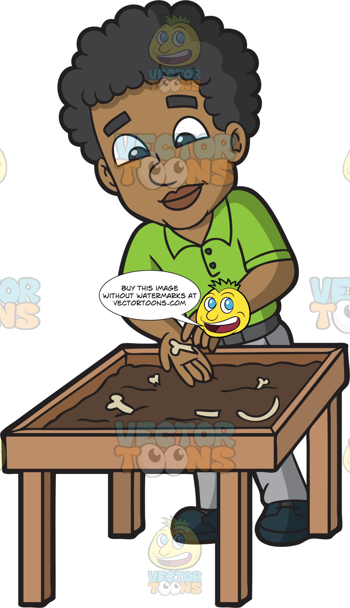 A black male anthropologist. Fossil clipart anthropology