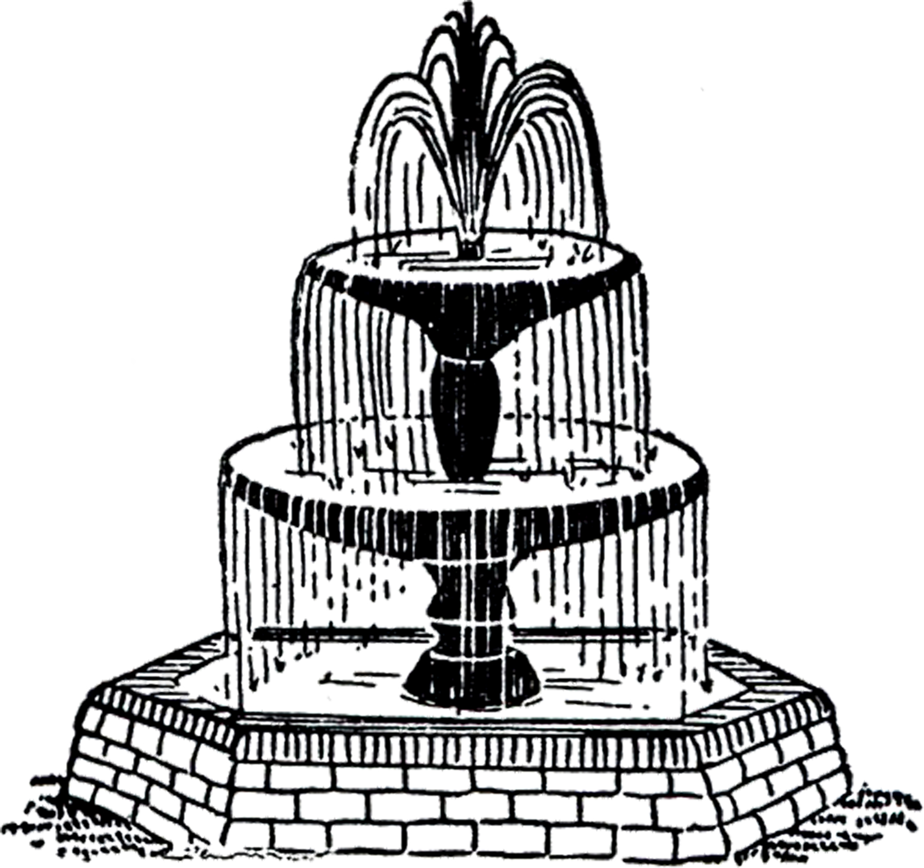 Fountain clipart. Free vintage clip art
