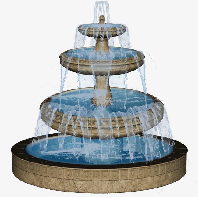 Circular garden central landscape. Fountain clipart