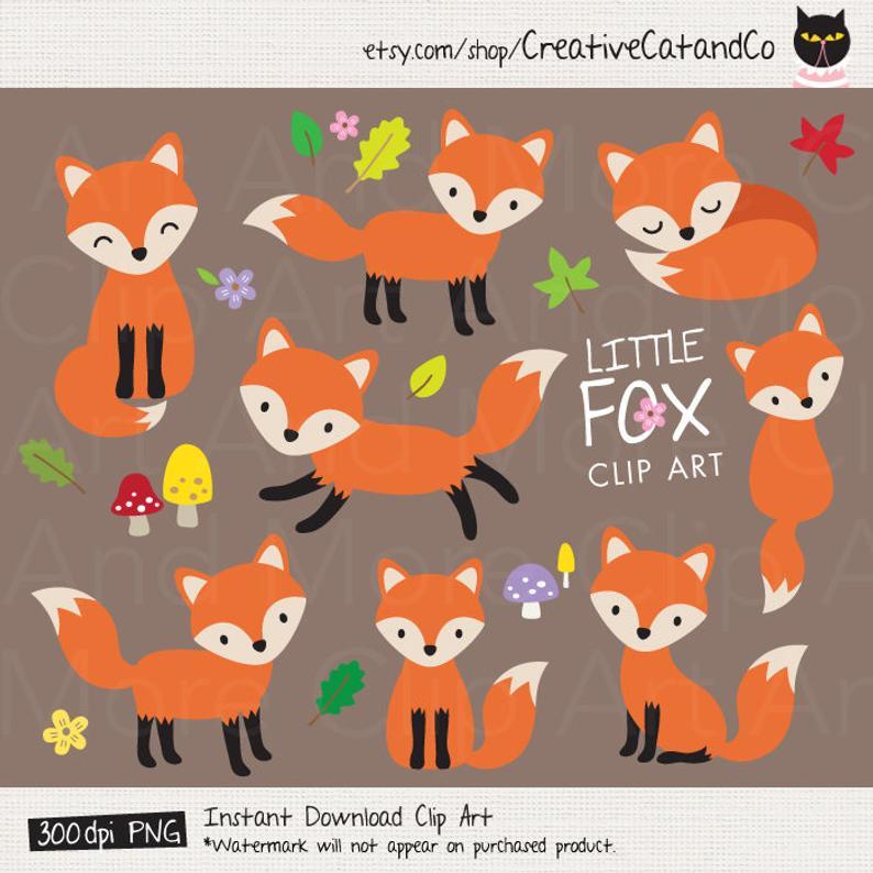Fox clipart baby fox. Clip art cute forest