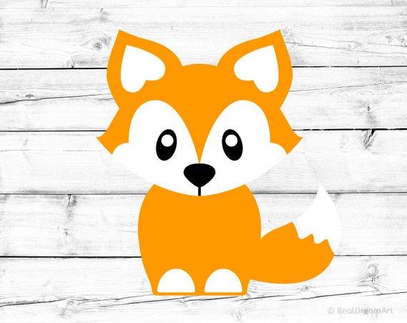 Fox clipart baby fox. Svg silhouette vector file