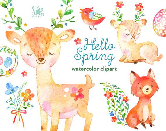 Fox clipart easter. Hello spring watercolor animals