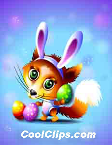 Fox clipart easter. Bunny with eggs royalty