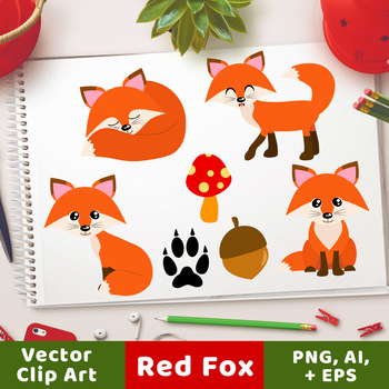 Red foxes animals cute. Fox clipart forest