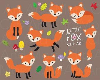 Fox clipart graphic. Etsy
