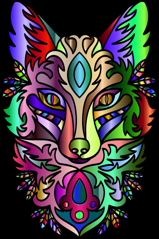 Fox clipart graphic. Chromatic ornamental line art