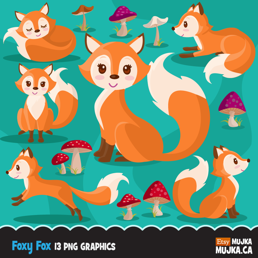 Fox clipart graphic. Woodland baby graphics with