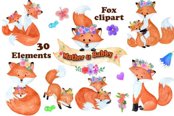 Watercolor . Fox clipart graphic