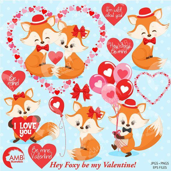 Foxes heart . Valentine clipart fox