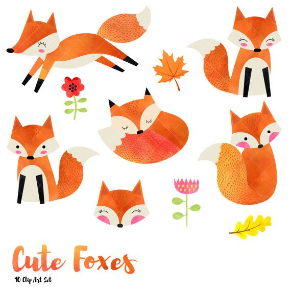 Fox clipart illustration. Watercolor cute foxes