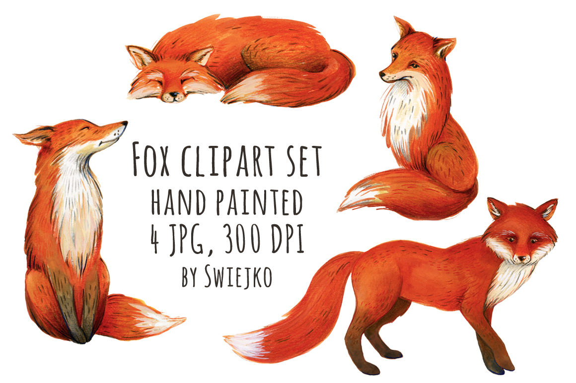 Watercolor forest images by. Fox clipart illustration