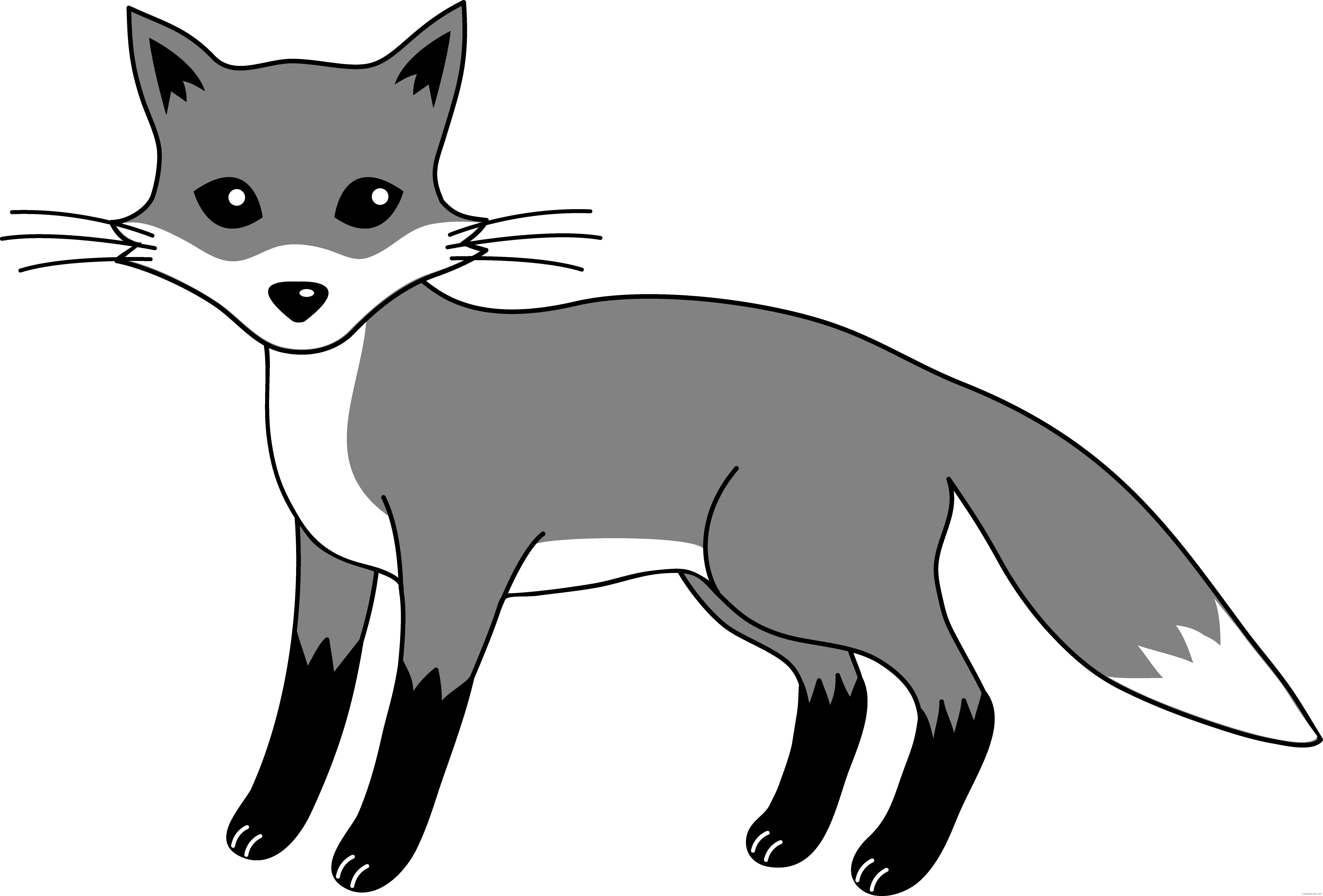 Fox clipart outline. Grayscale animal free black