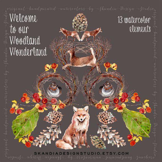 Fox clipart rustic. Woodland handpainted