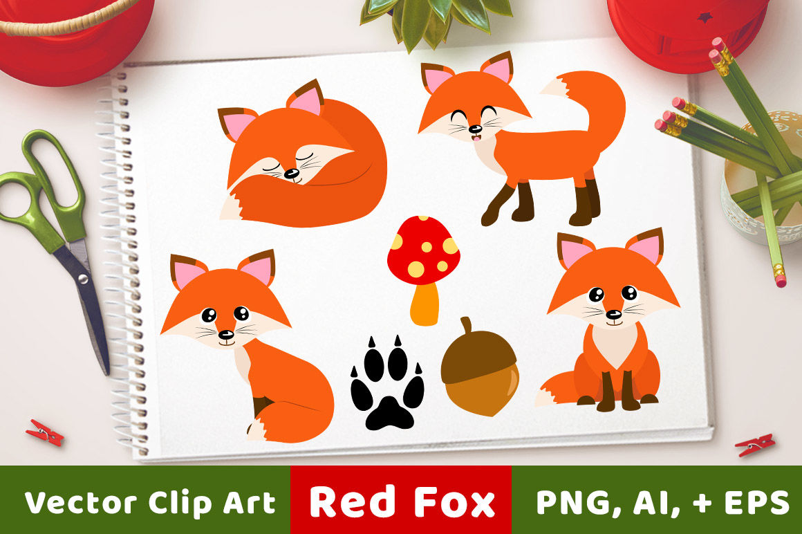Red foxes forest animals. Fox clipart rustic