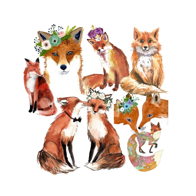 Clip art watercolor foxes. Fox clipart wedding