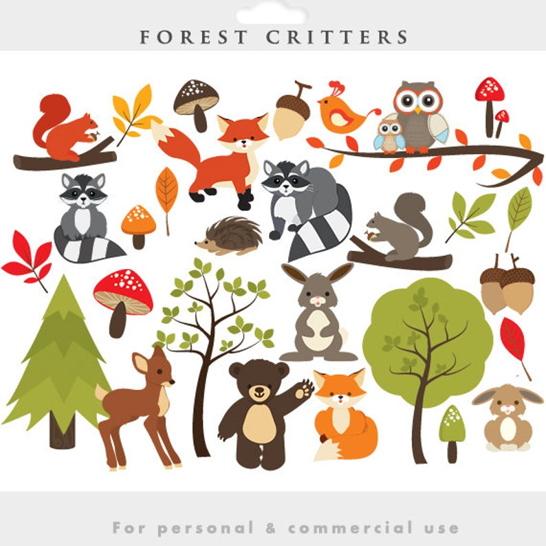 Woodland clipart whimsical woodland. Forest clip art cute