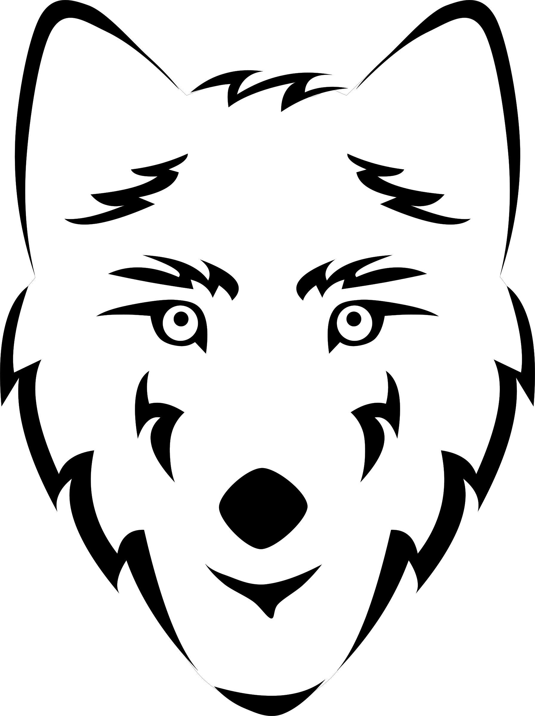 Blank wolf head stylized. Wolves clipart nose