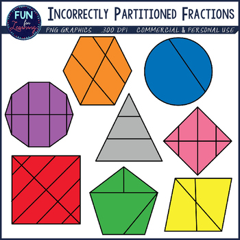 Incorrectly partitioned by fun. Fraction clipart