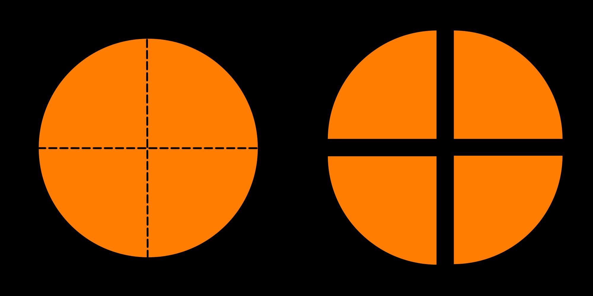 Fraction clipart circle. File piechartfractionbreakfourths svg wikimedia