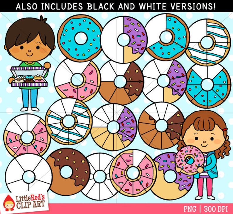 Donut fractions clip art. Fraction clipart cute